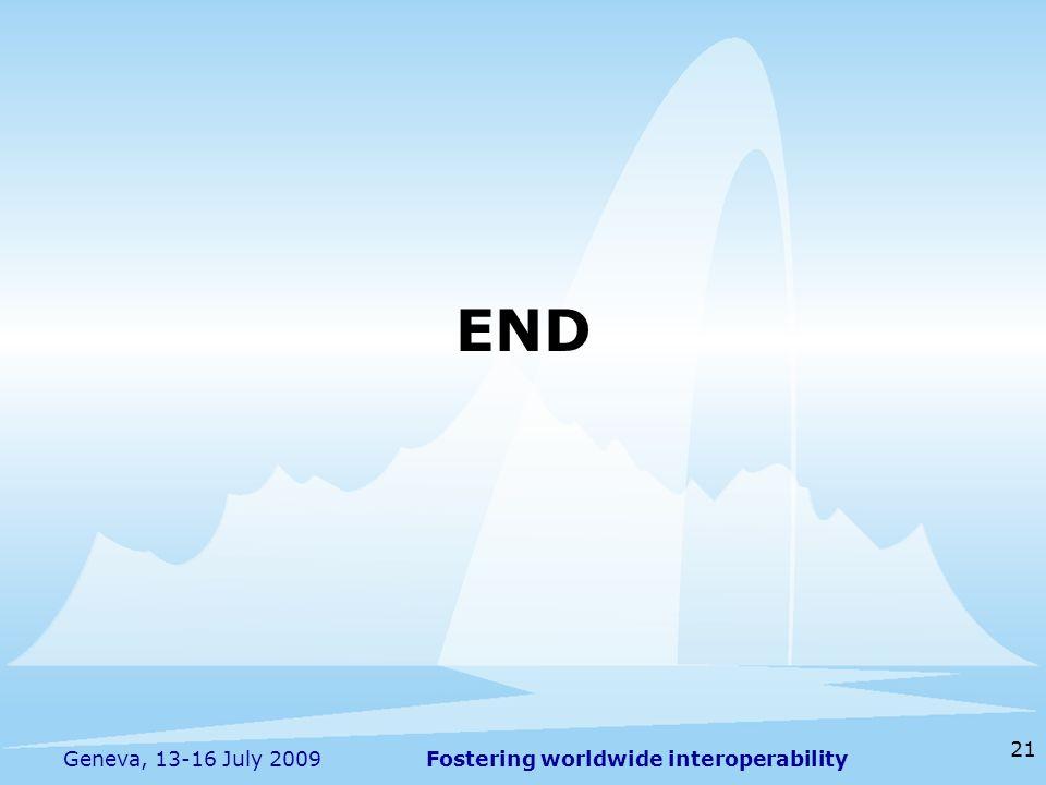 Fostering worldwide interoperability 21 Geneva, 13-16 July 2009 END