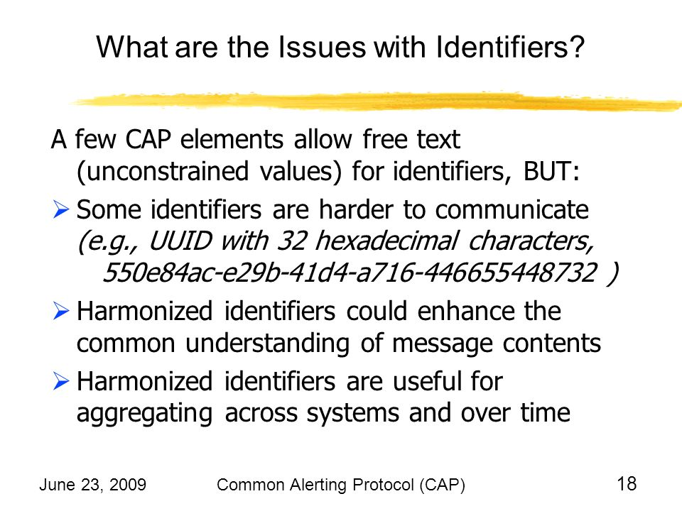 June 23, 2009Common Alerting Protocol (CAP) 18 What are the Issues with Identifiers.