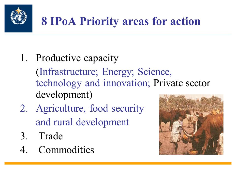 8 IPoA Priority areas for action 1.Productive capacity (Infrastructure; Energy; Science, technology and innovation; Private sector development) 2.Agri