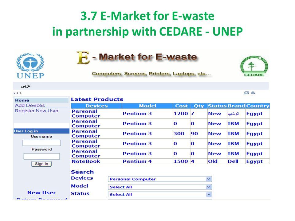 3.7 E-Market for E-waste in partnership with CEDARE - UNEP