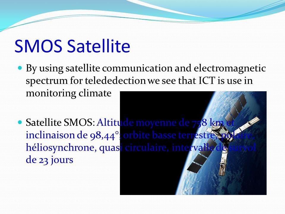 SMOS Satellite By using satellite communication and electromagnetic spectrum for telededection we see that ICT is use in monitoring climate Satellite SMOS: Altitude moyenne de 758 km et inclinaison de 98,44°; orbite basse terrestre, polaire, héliosynchrone, quasi circulaire, intervalle de survol de 23 jours