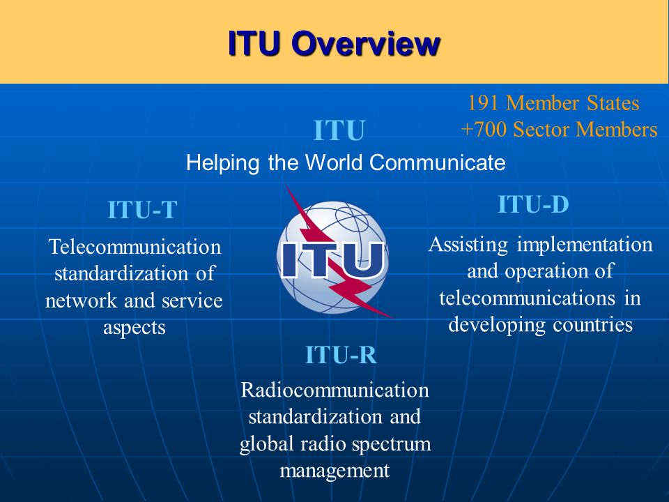 Committed to Connecting the World ITU–R The strategic goal of ITU-R To ensure interference-free operations of radiocommunication systems by implementing the Radio Regulations To establish Recommendations intended to assure the necessary performance and quality in operating radiocommunication systems to ensure the rational, equitable, efficient and economical use of the radio-frequency spectrum and satellite-orbit resources 5 RESOLUTION 71 (REV.