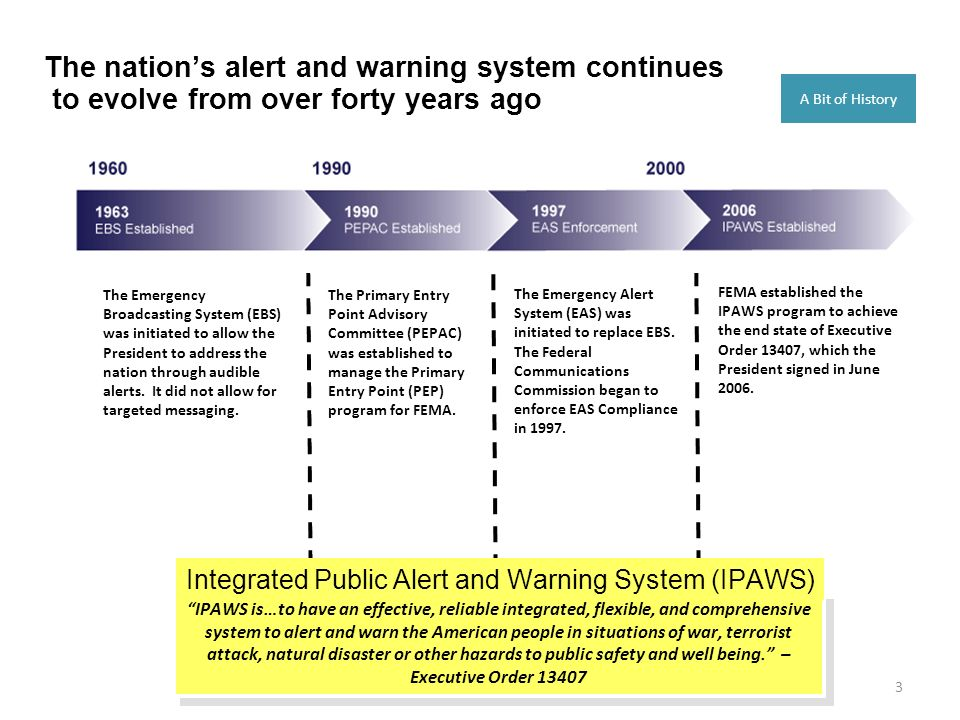 3 The nations alert and warning system continues to evolve from over forty years ago The Emergency Broadcasting System (EBS) was initiated to allow th
