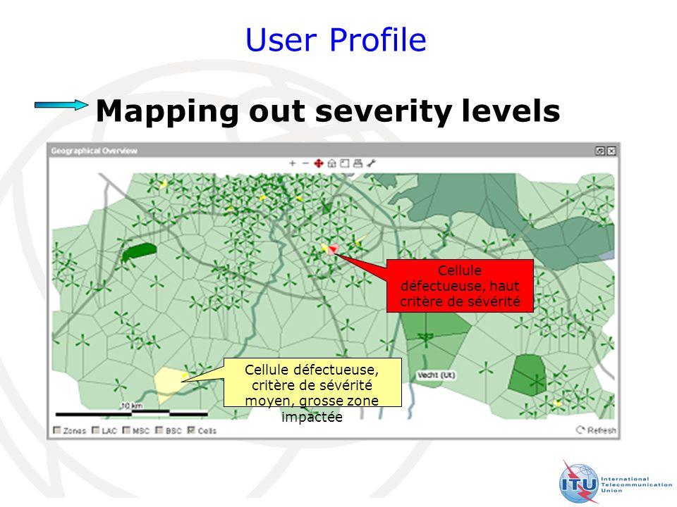 21 User Profile Mapping out severity levels Cellule défectueuse, haut critère de sévérité Cellule défectueuse, critère de sévérité moyen, grosse zone impactée