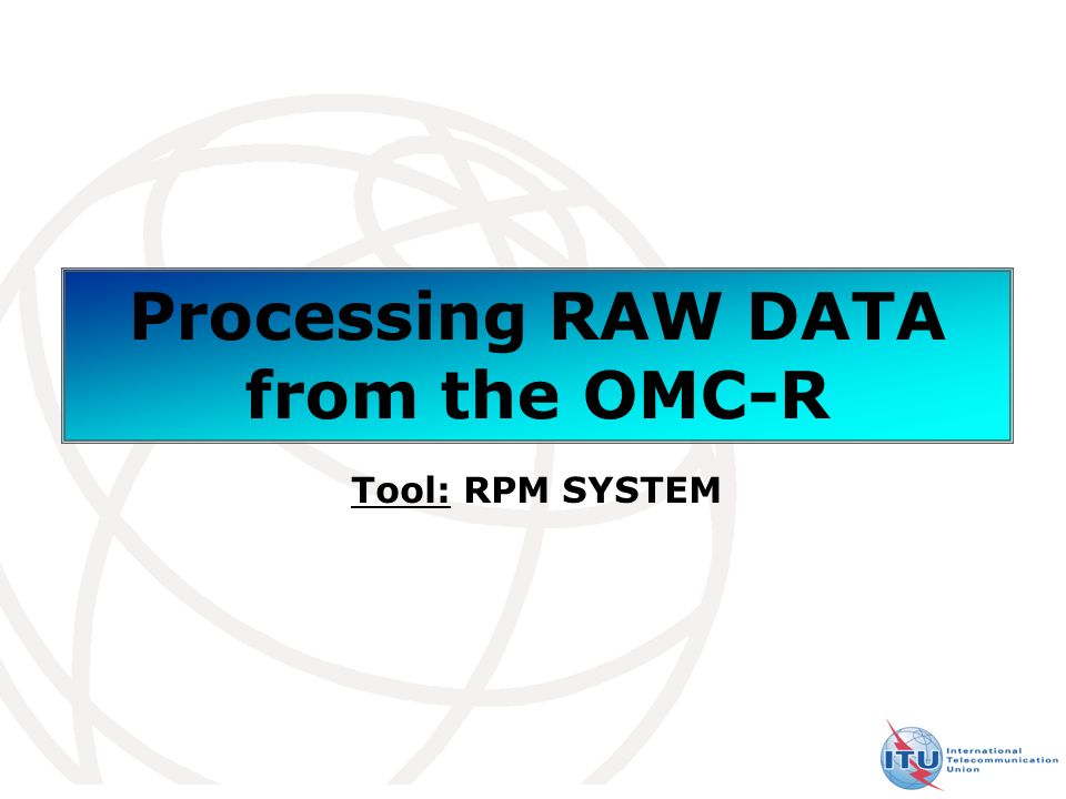 24 Processing Raw data Access in console mode with Putty session Management interface of Raw Data Name of Database Directory for processing raw data
