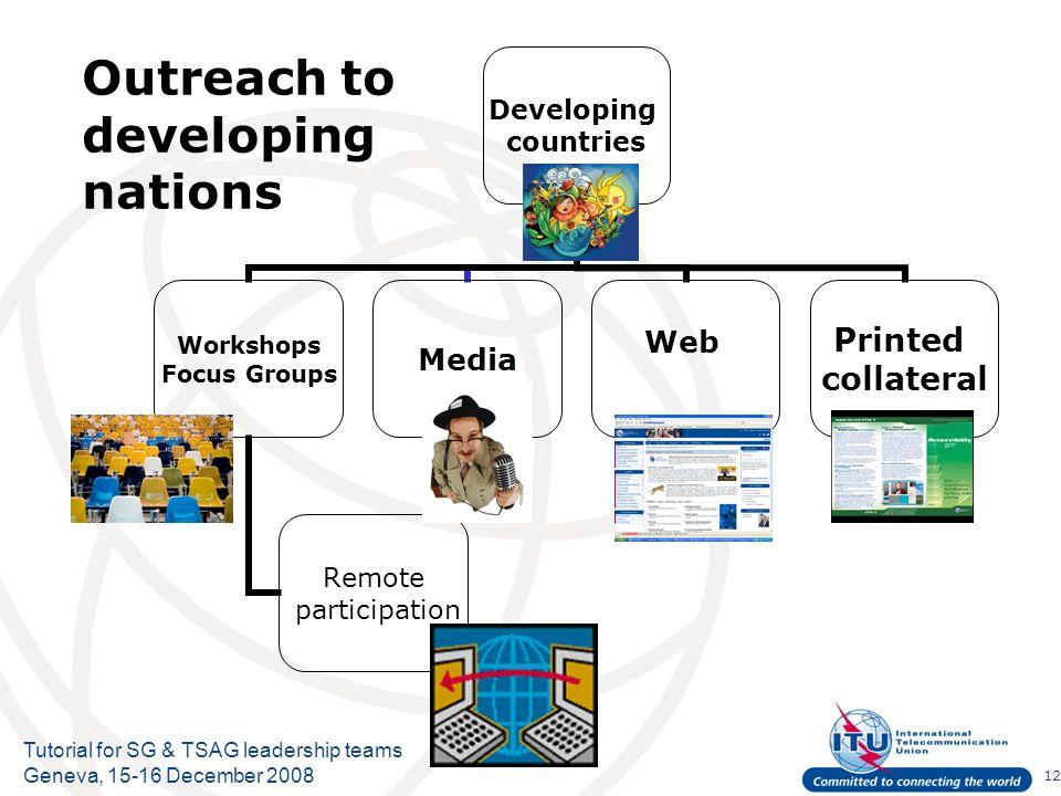 12 Tutorial for SG & TSAG leadership teams Geneva, 15-16 December 2008 Outreach to developing nations