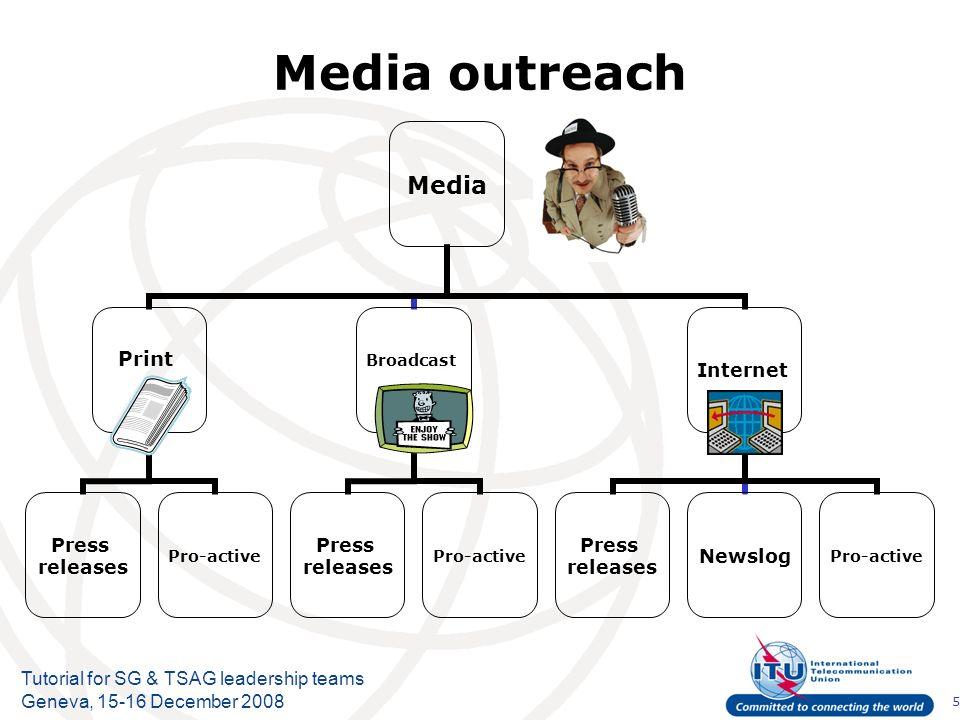 5 Tutorial for SG & TSAG leadership teams Geneva, 15-16 December 2008 Media outreach