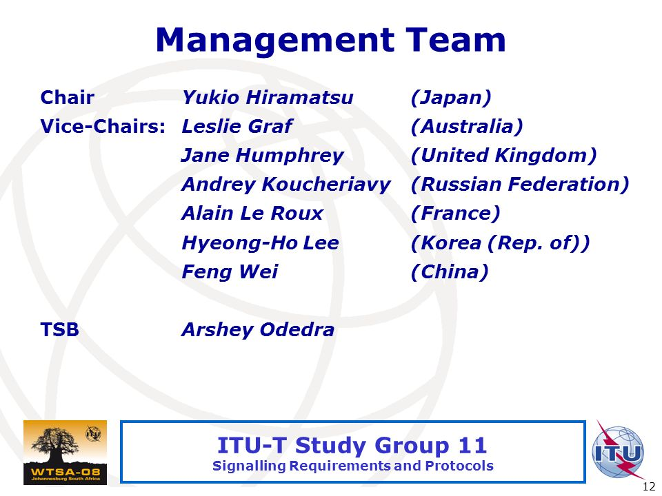 International Telecommunication Union 12 ITU-T Study Group 11 Signalling Requirements and Protocols Management Team ChairYukio Hiramatsu(Japan) Vice-Chairs:Leslie Graf(Australia) Jane Humphrey(United Kingdom) Andrey Koucheriavy(Russian Federation) Alain Le Roux(France) Hyeong-Ho Lee(Korea (Rep.
