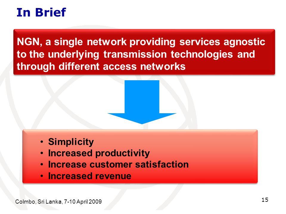 In Brief Colmbo, Sri Lanka, 7-10 April 2009 15 Simplicity Increased productivity Increase customer satisfaction Increased revenue Simplicity Increased