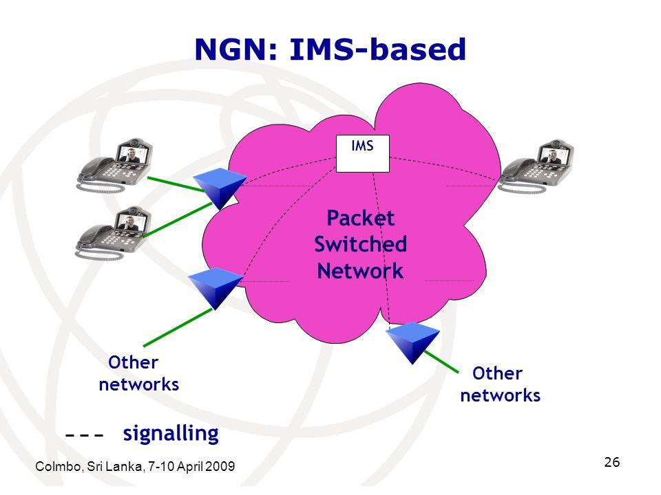 NGN: IMS-based Colmbo, Sri Lanka, 7-10 April 2009 26 Packet Switched Network Other networks IMS Other networks signalling