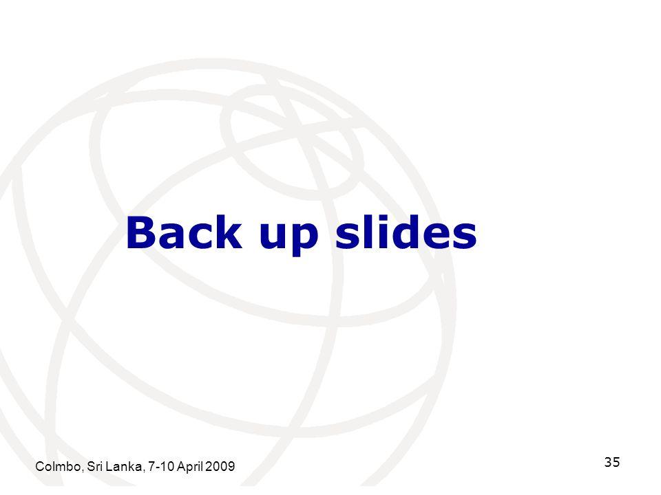 Colmbo, Sri Lanka, 7-10 April 2009 35 Back up slides