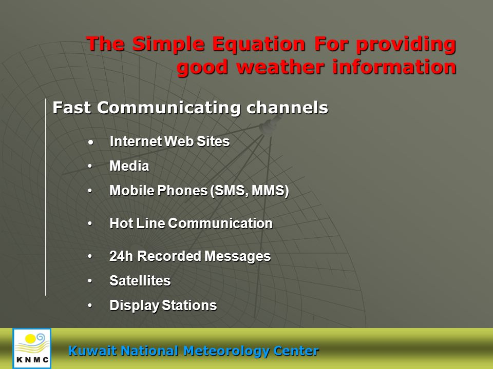 Kuwait National Meteorology Center The Simple Equation For providing good weather information Internet Web Sites Internet Web Sites Media Media Mobile