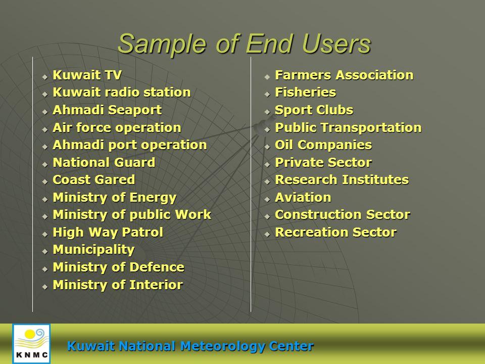 Sample of End Users Kuwait TV Kuwait TV Kuwait radio station Kuwait radio station Ahmadi Seaport Ahmadi Seaport Air force operation Air force operatio