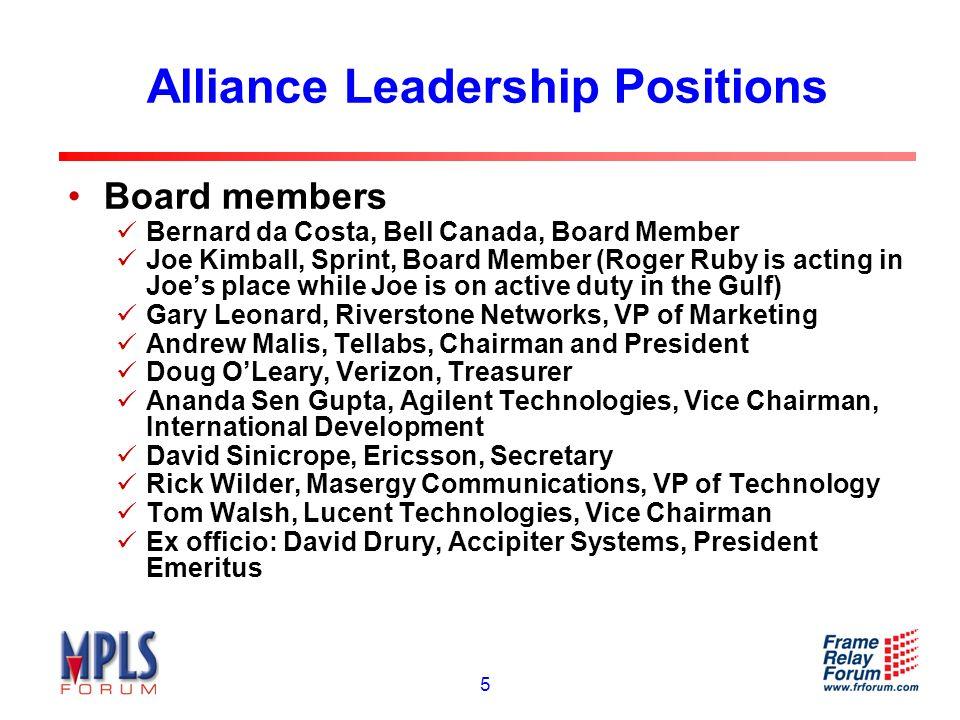 6 Alliance Leadership Positions Technical Committee Rao Cherukuri, Cisco Systems, Co-Chair Dr.