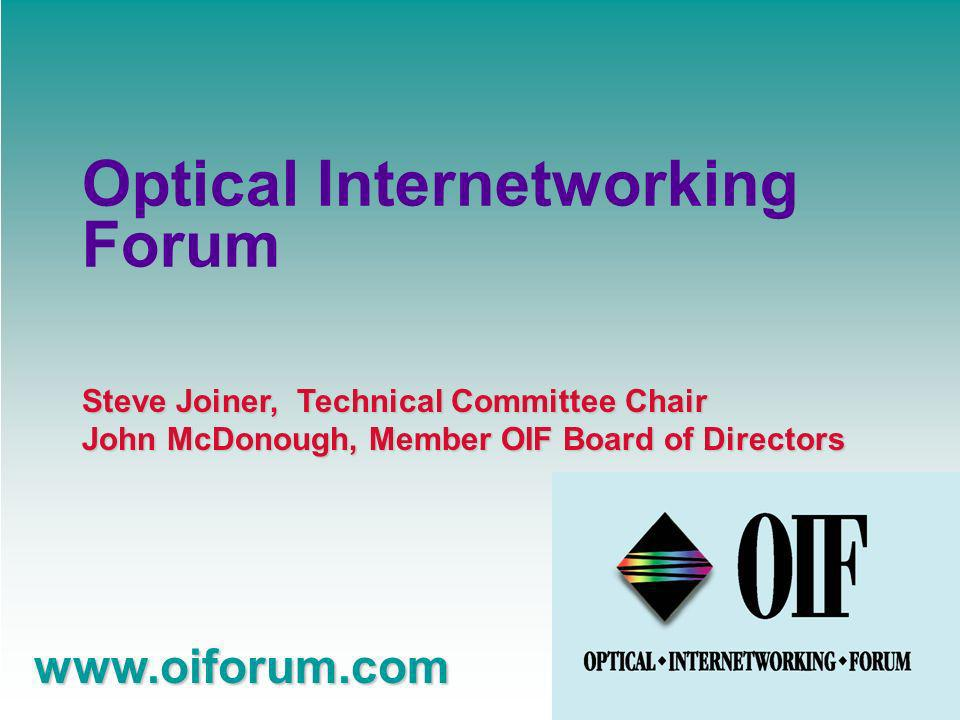 www.oiforum.com Signaling Working Group Define Signaling protocols used between optical network elements Enables clients to establish optical connections Re-uses work from other standards bodies UNI 1.0 complete Now in public domain as implementation agreement.