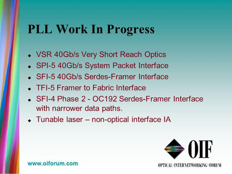 www.oiforum.com PLL Work In Progress VSR 40Gb/s Very Short Reach Optics SPI-5 40Gb/s System Packet Interface SFI-5 40Gb/s Serdes-Framer Interface TFI-5 Framer to Fabric Interface SFI-4 Phase 2 - OC192 Serdes-Framer Interface with narrower data paths.