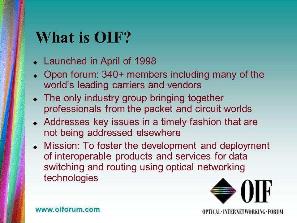 www.oiforum.com What is OIF.
