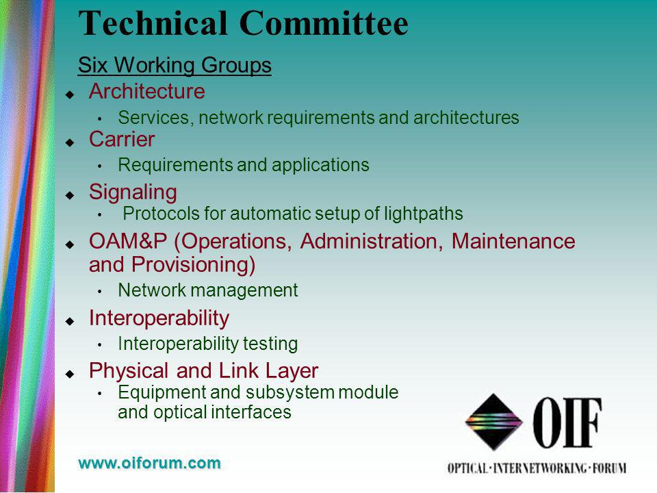 www.oiforum.com Technical Committee Six Working Groups Architecture Services, network requirements and architectures Carrier Requirements and applications Signaling Protocols for automatic setup of lightpaths OAM&P (Operations, Administration, Maintenance and Provisioning) Network management Interoperability Interoperability testing Physical and Link Layer Equipment and subsystem module and optical interfaces