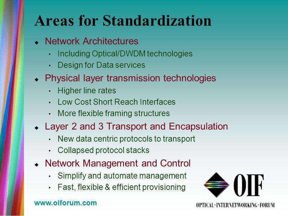 www.oiforum.com Areas for Standardization Network Architectures Including Optical/DWDM technologies Design for Data services Physical layer transmission technologies Higher line rates Low Cost Short Reach Interfaces More flexible framing structures Layer 2 and 3 Transport and Encapsulation New data centric protocols to transport Collapsed protocol stacks Network Management and Control Simplify and automate management Fast, flexible & efficient provisioning