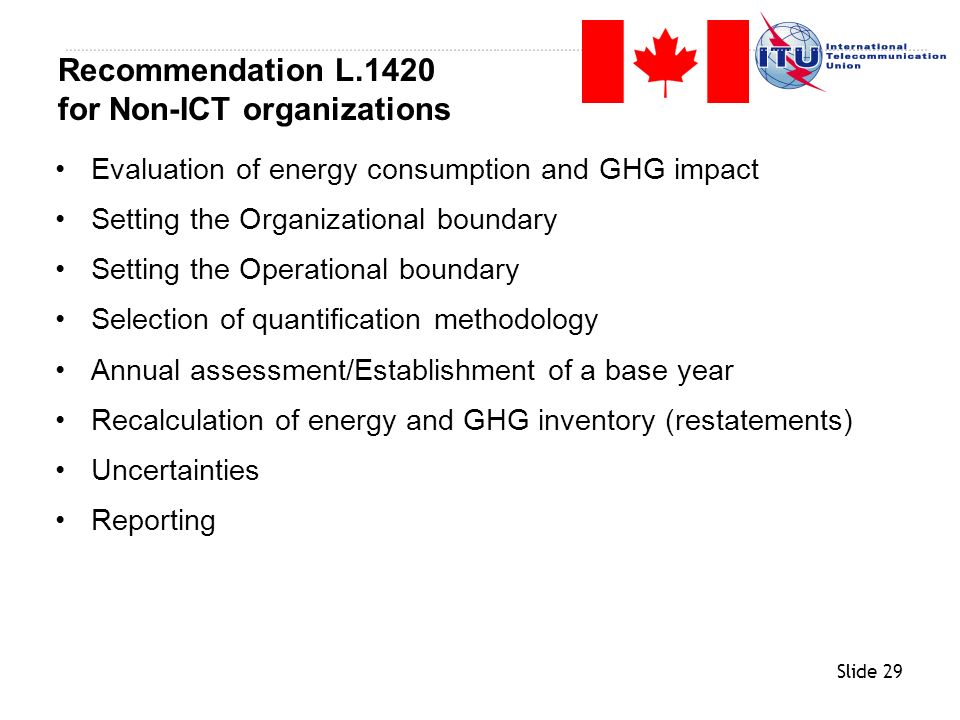 Slide 29 Evaluation of energy consumption and GHG impact Setting the Organizational boundary Setting the Operational boundary Selection of quantificat