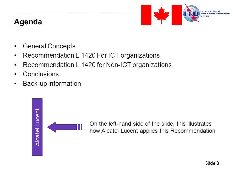 Slide 4 General Concepts Recommendation L.1420 For ICT organizations Recommendation L.1420 for Non-ICT organizations Conclusions Back-up information Agenda