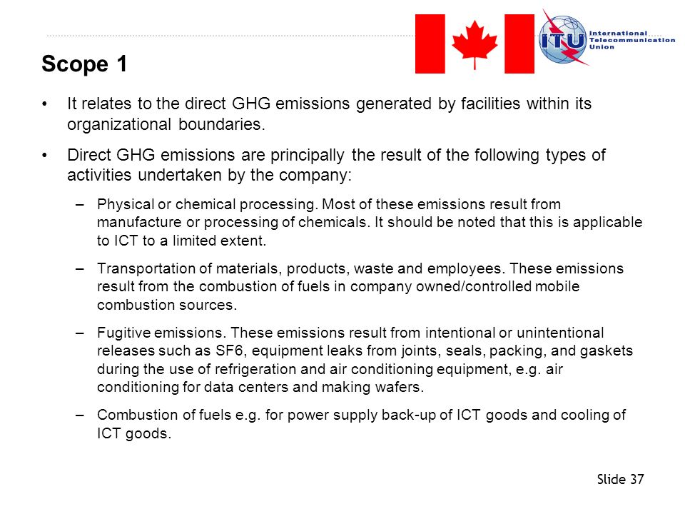 Slide 37 It relates to the direct GHG emissions generated by facilities within its organizational boundaries. Direct GHG emissions are principally the