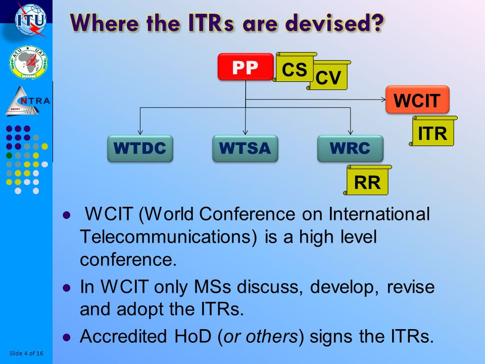 Slide 5 of 16 Member States either apply the relevant ITR articles; and/or Transfers the ITR commitments and obligations to its national laws and regulations, to be applied by its Operating Agencies (CS: § 38).