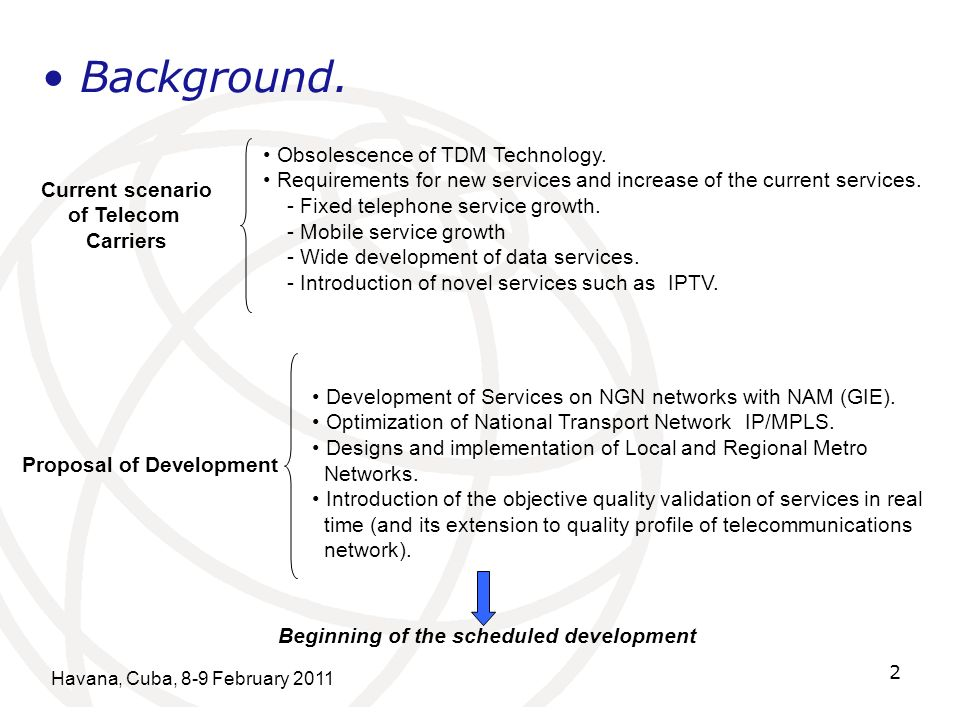 Havana, Cuba, 8-9 February 2011 2 Background. Current scenario of Telecom Carriers Obsolescence of TDM Technology. Requirements for new services and i