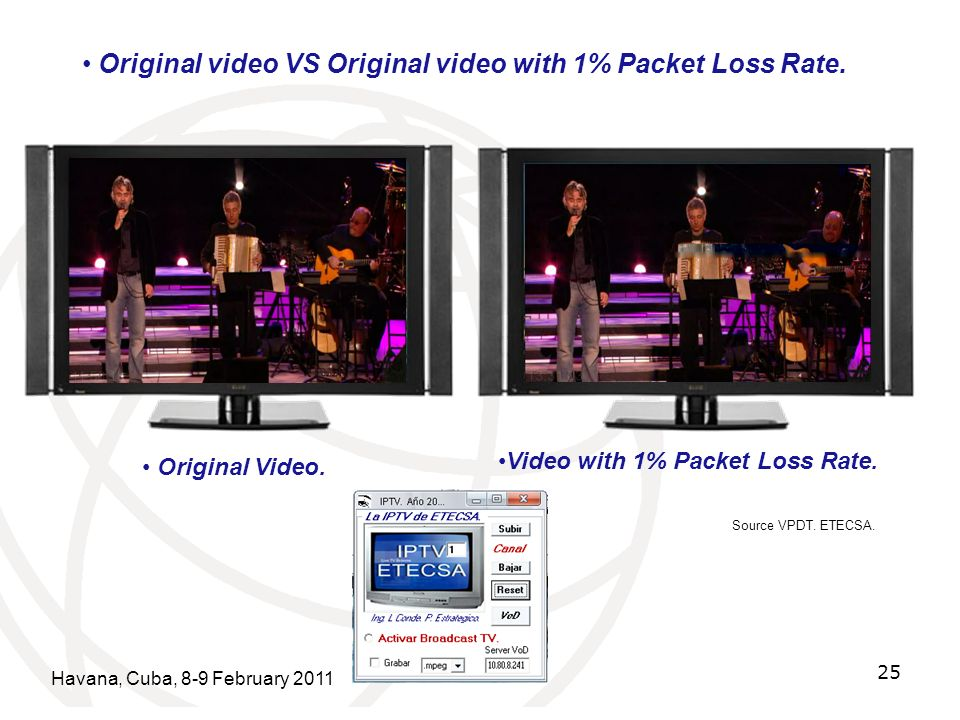 Havana, Cuba, 8-9 February 2011 25 Original video VS Original video with 1% Packet Loss Rate. Original Video. Video with 1% Packet Loss Rate. Source V