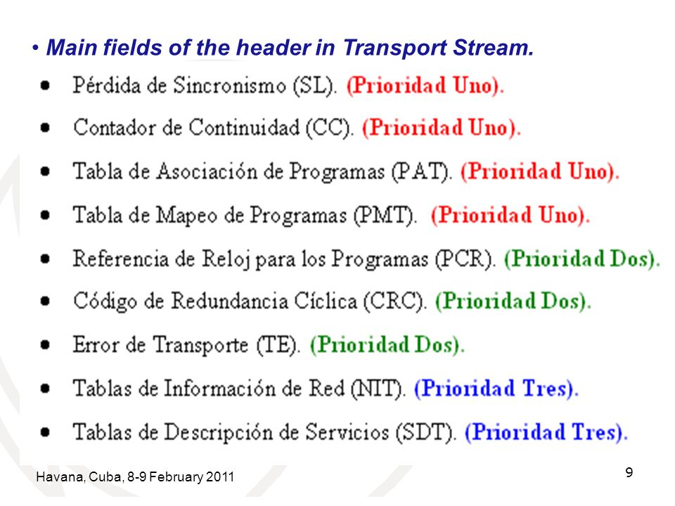 Havana, Cuba, 8-9 February 2011 9 8 Bytes Main fields of the header in Transport Stream. Source: UIT-T They group in 3 levels of priority: Priority 1.