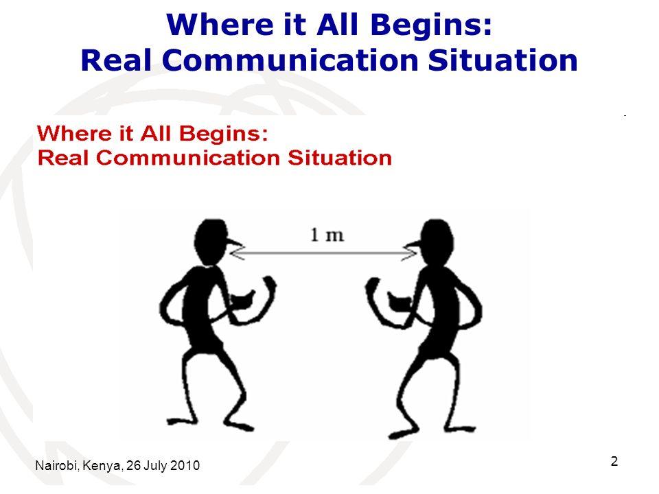 Nairobi, Kenya, 26 July 2010 2 Where it All Begins: Real Communication Situation