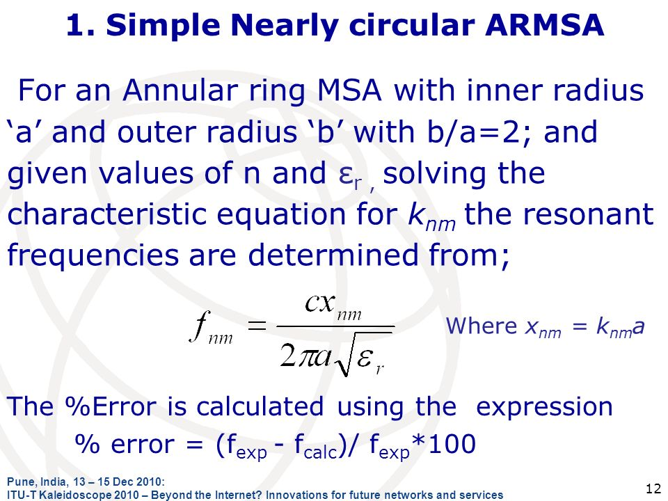 1. Simple Nearly circular ARMSA For an Annular ring MSA with inner radius a and outer radius b with b/a=2; and given values of n and ε r, solving the