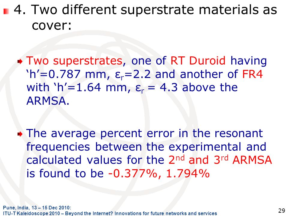 4. Two different superstrate materials as cover: Two superstrates, one of RT Duroid having h=0.787 mm, ε r =2.2 and another of FR4 with h=1.64 mm, ε r