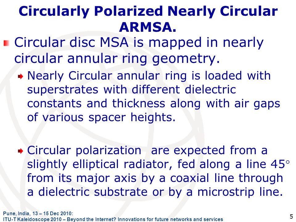 Circularly Polarized Nearly Circular ARMSA. Circular disc MSA is mapped in nearly circular annular ring geometry. Nearly Circular annular ring is load