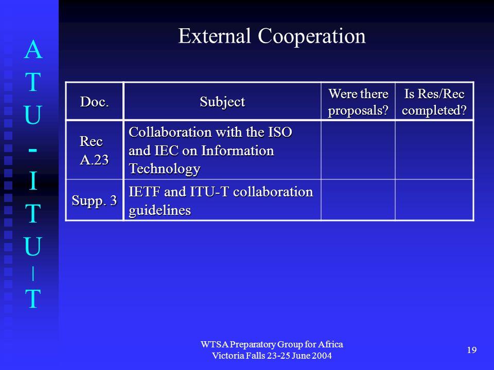 ATU-ITU|TATU-ITU|T WTSA Preparatory Group for Africa Victoria Falls 23-25 June 2004 19 External Cooperation Doc.Subject Were there proposals? Is Res/R