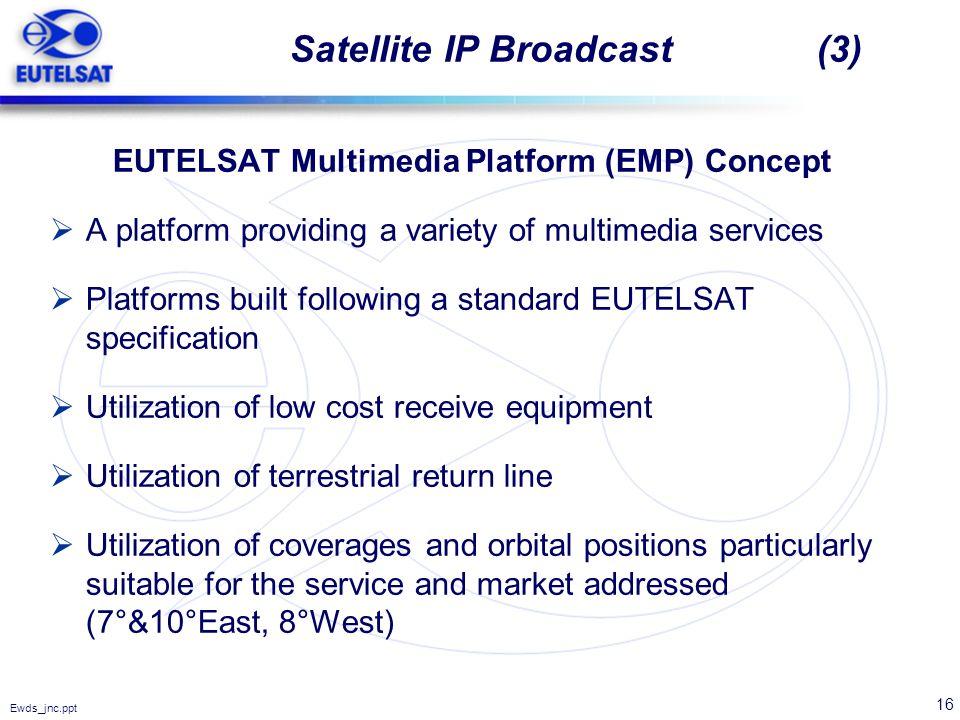 16 Ewds_jnc.ppt Satellite IP Broadcast (3) EUTELSAT Multimedia Platform (EMP) Concept A platform providing a variety of multimedia services Platforms