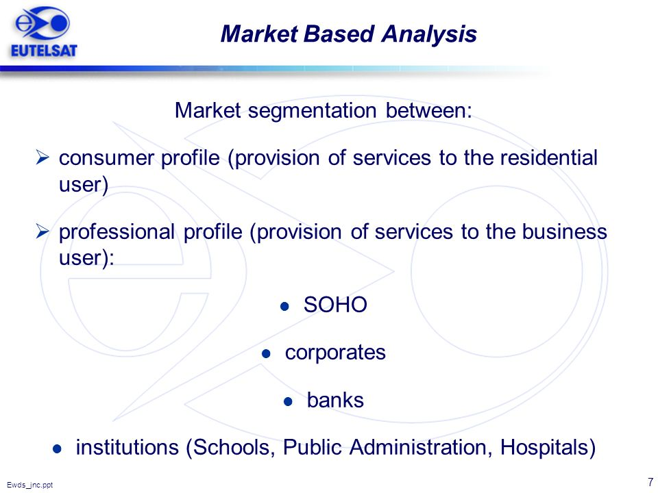 7 Ewds_jnc.ppt Market Based Analysis Market segmentation between: consumer profile (provision of services to the residential user) professional profil