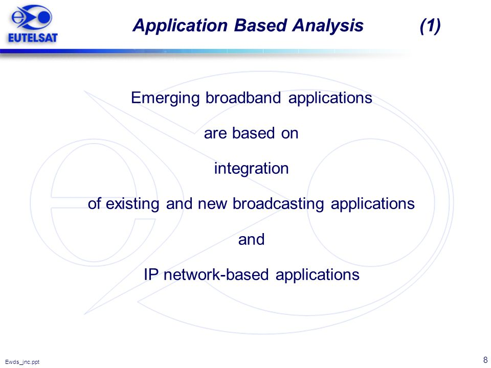 8 Ewds_jnc.ppt Application Based Analysis (1) Emerging broadband applications are based on integration of existing and new broadcasting applications a
