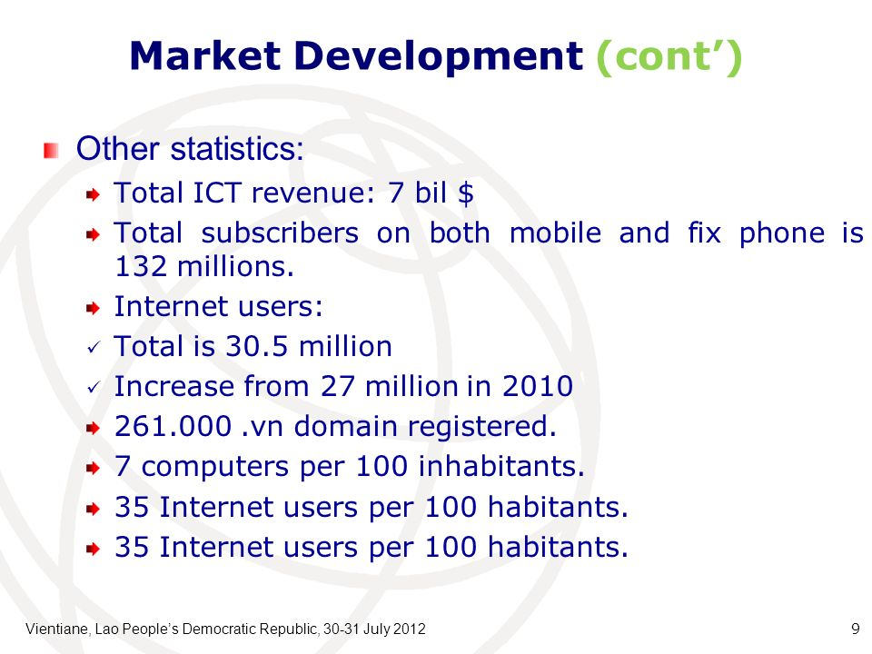 Market Development (cont) Other statistics: Total ICT revenue: 7 bil $ Total subscribers on both mobile and fix phone is 132 millions.