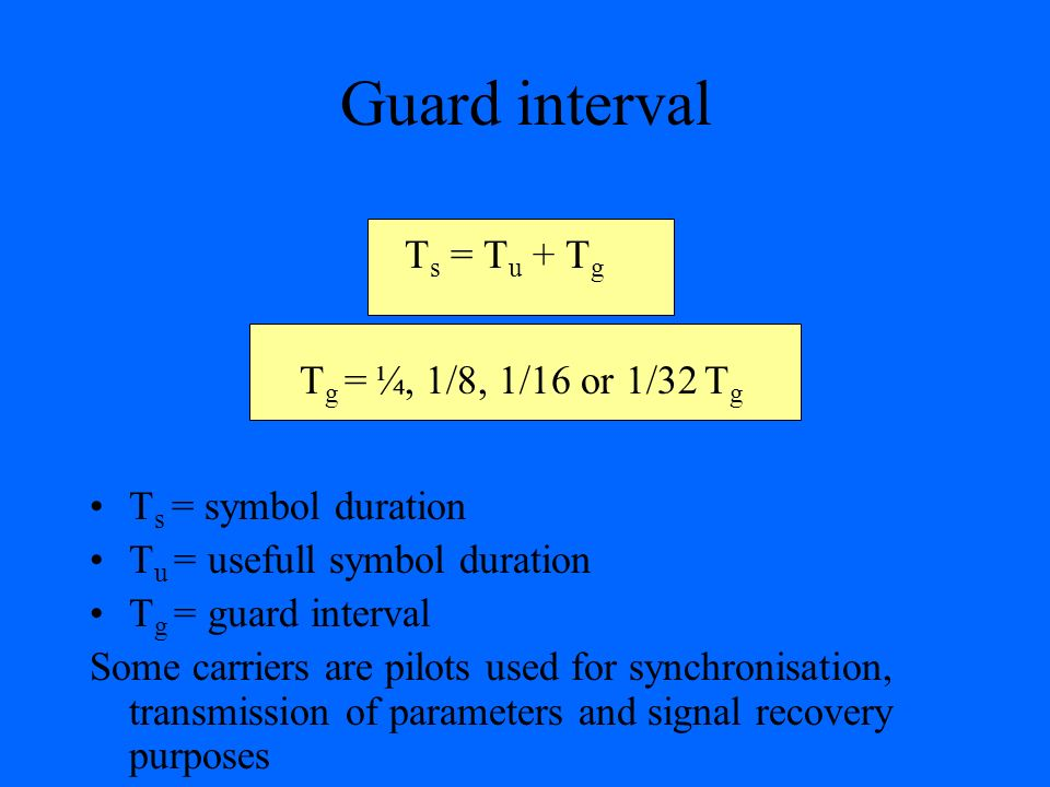 Guard interval T s = T u + T g T g = ¼, 1/8, 1/16 or 1/32 T g T s = symbol duration T u = usefull symbol duration T g = guard interval Some carriers a