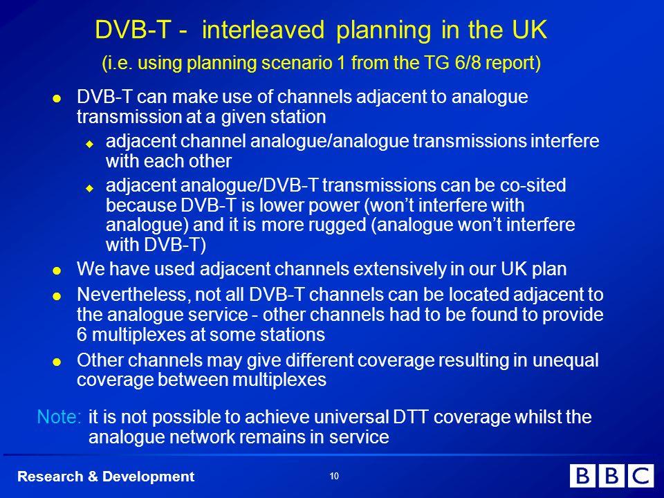 Research & Development 10 DVB-T - interleaved planning in the UK (i.e.