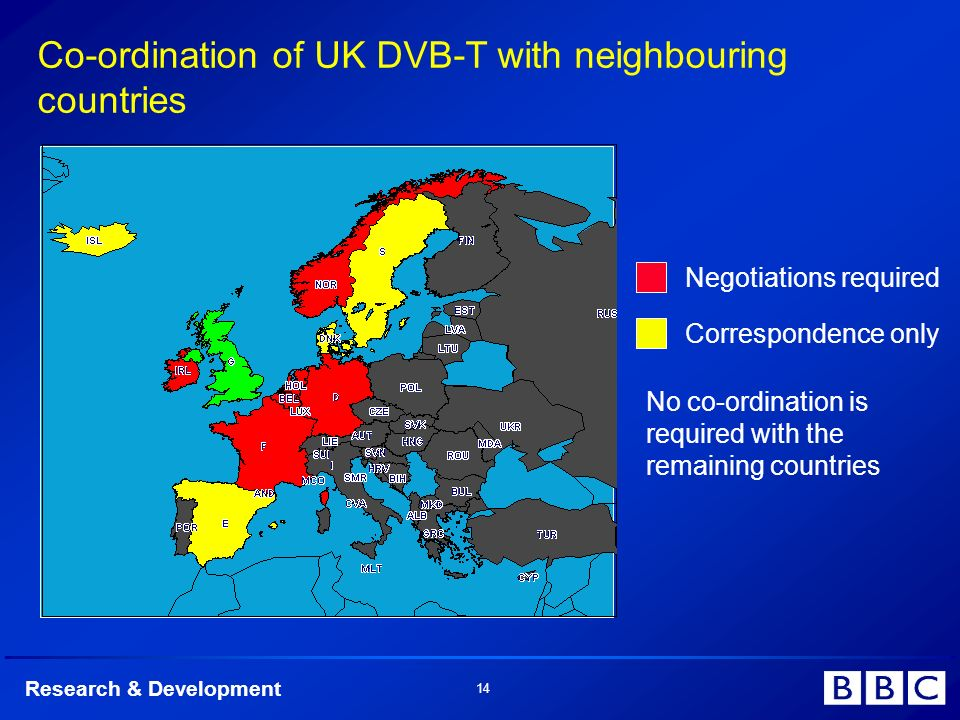 Research & Development 14 Co-ordination of UK DVB-T with neighbouring countries Negotiations required Correspondence only No co-ordination is required