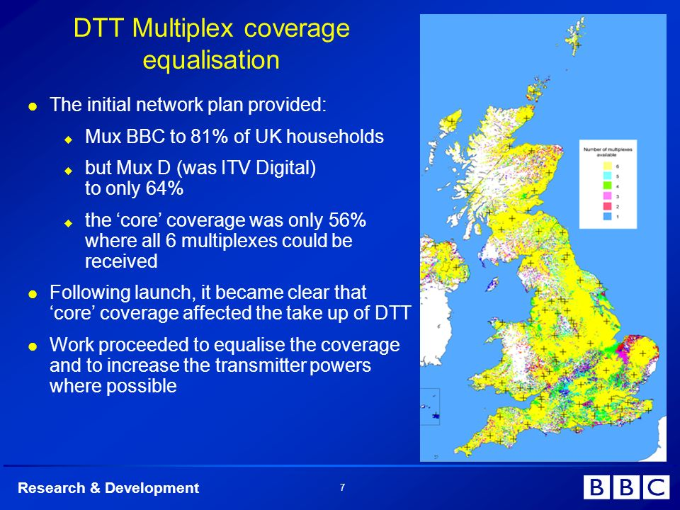 Research & Development 7 DTT Multiplex coverage equalisation The initial network plan provided: Mux BBC to 81% of UK households but Mux D (was ITV Dig