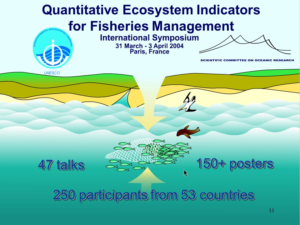 11 Quantitative Ecosystem Indicators for Fisheries Management 250 participants from 53 countries 47 talks 150+ posters