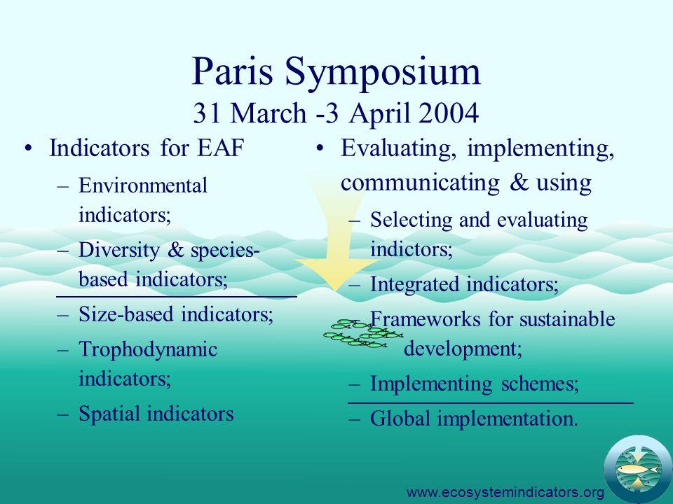 12 Paris Symposium 31 March -3 April 2004 Indicators for EAF –Environmental indicators; –Diversity & species- based indicators; –Size-based indicators