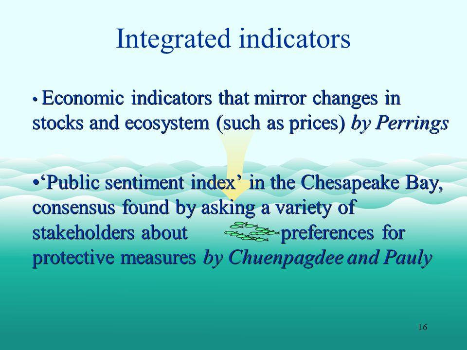 16 Integrated indicators Economic indicators that mirror changes in stocks and ecosystem (such as prices) by Perrings Public sentiment index in the Ch