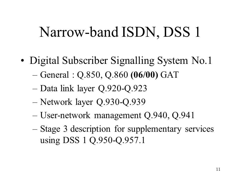 11 Narrow-band ISDN, DSS 1 Digital Subscriber Signalling System No.1 –General : Q.850, Q.860 (06/00) GAT –Data link layer Q.920-Q.923 –Network layer Q
