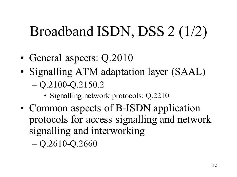 12 Broadband ISDN, DSS 2 (1/2) General aspects: Q.2010 Signalling ATM adaptation layer (SAAL) –Q.2100-Q.2150.2 Signalling network protocols: Q.2210 Co
