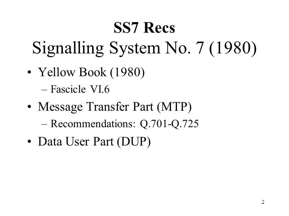 2 SS7 Recs Signalling System No. 7 (1980) Yellow Book (1980) –Fascicle VI.6 Message Transfer Part (MTP) –Recommendations: Q.701-Q.725 Data User Part (