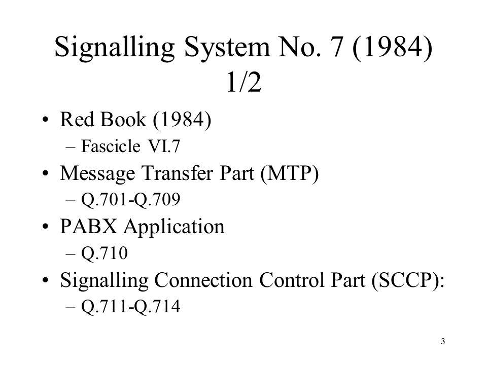 3 Signalling System No. 7 (1984) 1/2 Red Book (1984) –Fascicle VI.7 Message Transfer Part (MTP) –Q.701-Q.709 PABX Application –Q.710 Signalling Connec